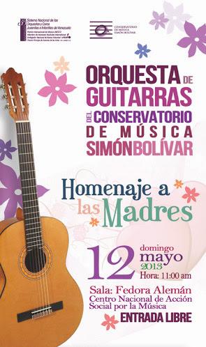 Orquesta De Guitarras Del Conservatorio De Música Simón Bolívar Rinde Homenaje A Las Madres En Su Día