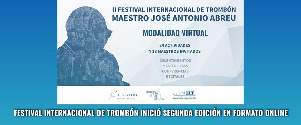 Festival Internacional de Trombón inició segunda edición en formato online